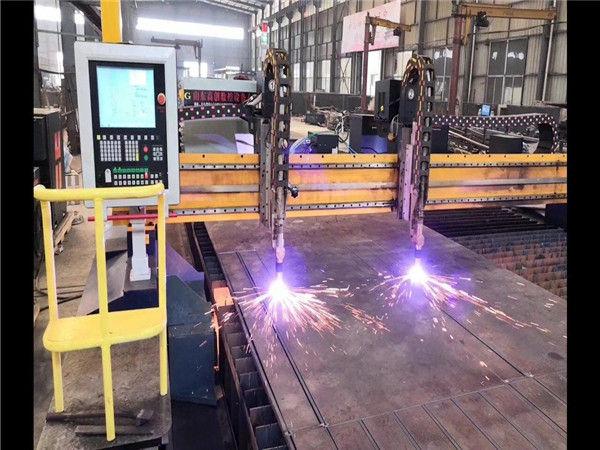 Double Drive Gantry CNC Mesin Pemotong Plasma H Beam Jalur Produksi Hypertherm Sistem CNC