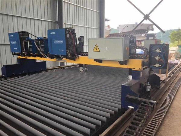 Double Drive Gantry CNC Mesin Pemotong Plasma untuk Memotong Baja Padat H Beam Line Produksi